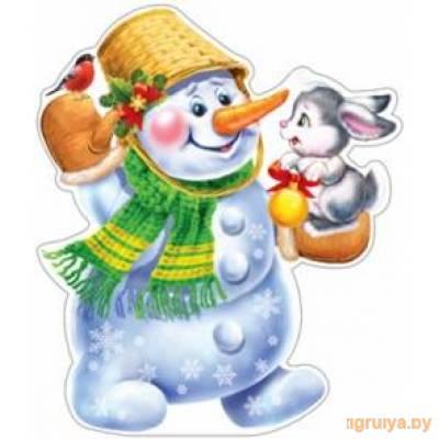 Плакат Вырубной «Снеговик» с зайчиком, ТЦ СФЕРА от ТЦ СФЕРА в Минске фото